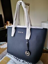 Michael Kors Jet Set Saffiano Leather Tote Hand Bag Navy Blue (Admiral) BNWT