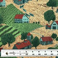"Farm Country Scene Cotton Fabric Cows Barns Fields 2 yds x 42"" Sewing Quilting"