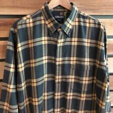 EUC Mens VTG Lands End Flannel Plaid Checks Print L/S Button Up Shirt L/XL