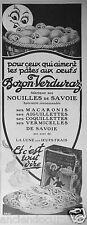PUBLICITÉ 1927 BOZON-VERDURAZ NOUILLES DE SAVOIE AUX OEUFS FRAIS - ADVERTISING