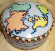"Tiffany & Co. small Round Lidded World Globe porcelain 4"" Trinket Box - Mint!"