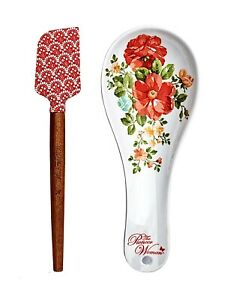The Pioneer Woman Set of 2 Melamine Spoon Rest & Spatula Set Vintage Floral