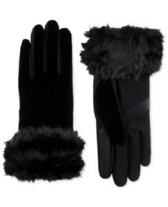 ISOTONER - Women's Velvet Quilted Gloves w/ Faux Fur, Black, Small/Medium, NWOT