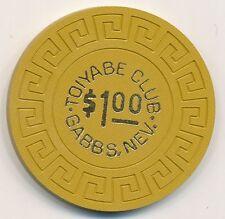 Toiyabe Club Gabbs, NV $1 Chip 1960's R5