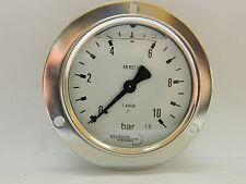 Pressure gauge 0-10 Bar 63mm All S/S gauge. Rear entry