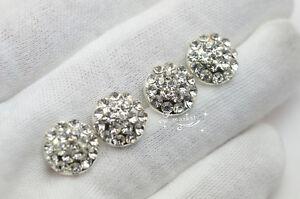 10 PCS Crystal Rhinestone Button Costume Dress Applique Silver KK-2