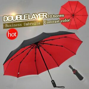 Free Shipping Double Layer Wind Resistant Folding Automatic Umbrella 10 Ribs