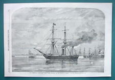 1858 Woodcut Engraving - ENGLAND Steamer Pera Sailing to Cherbourg