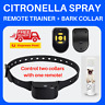 CITRONELLA SPRAY AUTOMATIC RECHARGEABLE BARK STOP COLLAR + REMOTE CONTROL 80M