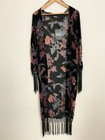 Missguided floral maxi velour cover up shawl long cardigan, beach summer size 6