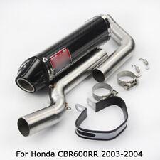 For Honda CBR600RR 03-04 Rear Exhaust System Muffler Tip Front Pipe Carbon Fiber