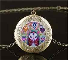 Vintage Pretty Owl Photo Cabochon Glass Brass Chain Locket Pendant Necklace