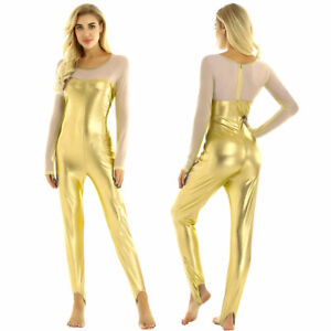 Sexy Women's Metallic Long Sleeve Bodysuit Catsuit Jumpsuit Modern Dance Costume