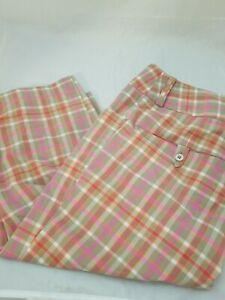 Ladies Adidas ClimaLite Pink Taupe Plaid Pattern Golf Crop Capri Pants Sz 2 31W