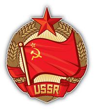 "USSR Flag Soviet Union Wreath Of Wheat Car Bumper Sticker Decal 5"" x 5"""