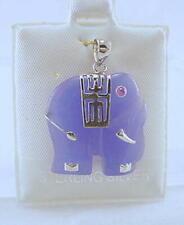 New Sterling Silver Lavender Jade Elephant Pendant