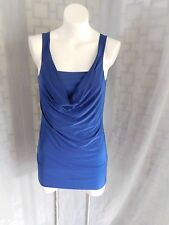 Express Solid Dark Blue Mock Layered Cowl Neck Sleeveless Tunic Blouse - Size L