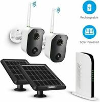 TMEZON 2x 1080P Wireless Battery IP Camera Kit WiFi NVR Solar Panel Powered 128G