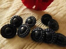 lot 6 petits boutons anciens en verre bleu foncé marine travaillé 1,3 cm ref 729