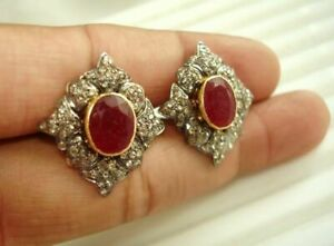 Collectros Ruby Diamond Earring 18k Gold & Silver Jewelry