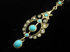 CE367 VICTORIAN style Genuine 9ct Gold LONG Natural Turquoise & Pearl Earrings
