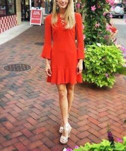 Karen Millen Red DA056 Frill Bell Fluted Flare Mini Cocktail Party Dress 10 38