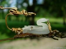 LOVELY ANTIQUE CHINESE GILT SILVER AND WHITE JADE 'DRAGON & PHOENIX' HAIRPIN
