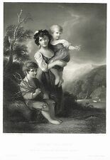 "Gainsboroughs - ""COTTAGE CHILDREN"" by Shaw - Steel Engraving - c1850"