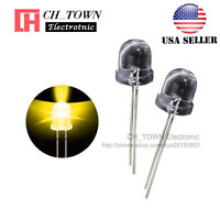 50pcs 10mm LED Water Clear Yellow Light Emitting Diodes Round Top USA