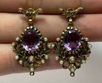 Antique 14k Yellow Gold Amethyst & Seed Pearl Victorian Stick Dangling Earrings