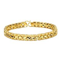 "Women's Bracelet 18K Yellow Gold Filled Charms Chain 7.3"" Link Fashion Jewelry"