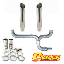 "Ford 7.3L Super Duty Power Stroke Diesel 7"" Miter Cut Pypes Dual Stack Kit"