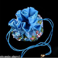 Fashion SILK EMBROIDERED TRAVEL BAG JEWELRY ROLL POUCH BROCADE BAG BLUE