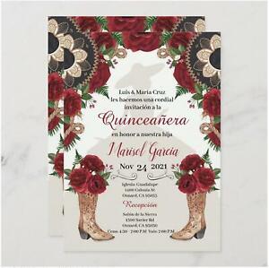 50 PSC Charra Quinceanera Invitation, Red Roses Mariachi Western Invitations