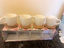 Set 4 Coffee /espresso cup ceramic  with wood saucer  /cover 4 oz .