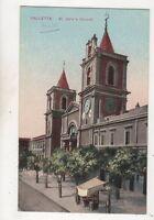 Valletta St Johns Church Malta Vintage Postcard 637b