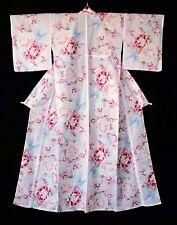 Japanese Yukata Kimono Robe Cotton Pink Floral T249