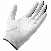 TaylorMade Mens Stratus Leather Golf Glove, White, Large
