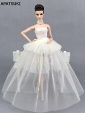 White Party Dress For Barbie Doll Clothes Multi-layer Evening Gown Wedding Dress
