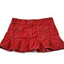 Aeropostale Corduroy Mini Skirt Pleated Flirty Size 5 6 Low Rise Red Pink Sexy
