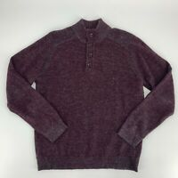 Toscano Firenze Mens Pullover Sweater Size M Burgundy Gray Mock Neck Wool Blend
