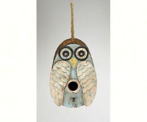 DECORATIVE  BIRD HOUSE - Blue Owl Birdhouse  -  SE984