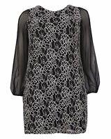 New Ladies Emily Black Gold Lace Evening Dress Plus Size 16- 26