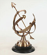 """Brass Armillary Sphere Sundial 14.25"""" Wood Base Antiqued Finish Globe Table Top"""