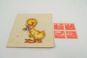 Canada War Savings 25 Cent Stamp Block 1940s War Ship Soldier w/ Gift Card Duck