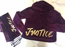 Justice Velour Velvet Hoodie Jacket Pant Active Set  Size 10