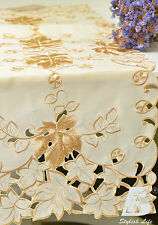Oblong Table Runner, Embroidered  Golden Vine Leaves, 40x225cm (16x90in) FFDWY54