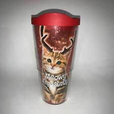 Christmas Kitty Cat Meow Tervis Tumbler 24 oz W Lid Red