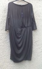 M&S Collection Black/Silver Lurex 3/4 Sleeve Draped Wrap Dress BNWT Size 18