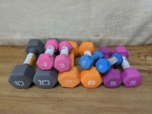 Lot of 5 Pairs of CAP Neoprene Barbell Dumbbells 2, 3, 5, 8 & 10 Pound Lbs Pairs